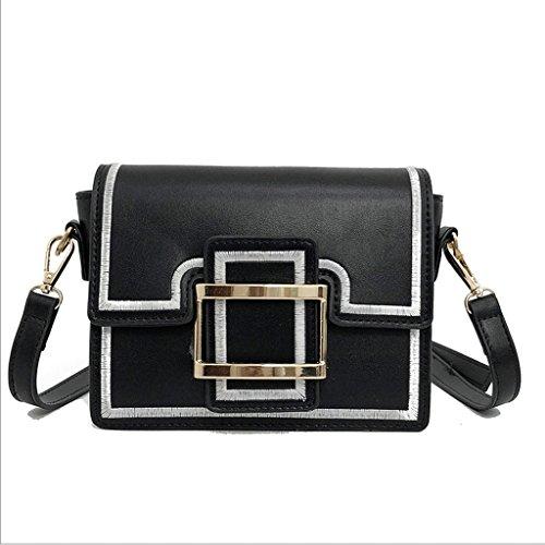 ZHYW Bolso pequeño de las señoras Bolso retro del mensajero Bolso pequeño cuadrado Bolso de hombro de la manera (Color : Negro) Negro