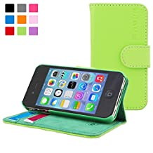 iPhone 4 Case, Snugg Green Leather Flip Case [Card Slots] Executive Apple iPhone 4 Wallet Case Cover and Stand [Lifetime Guarantee] - Legacy Series