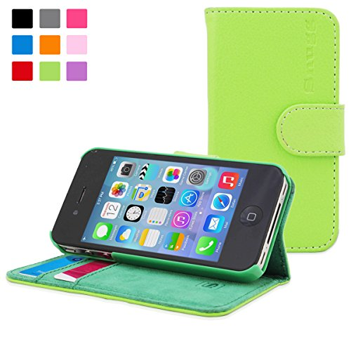 Green Leather Flip Case [Card Slots] Executive Apple iPhone 4 Wallet Case Cover and Stand - Legacy Series ()