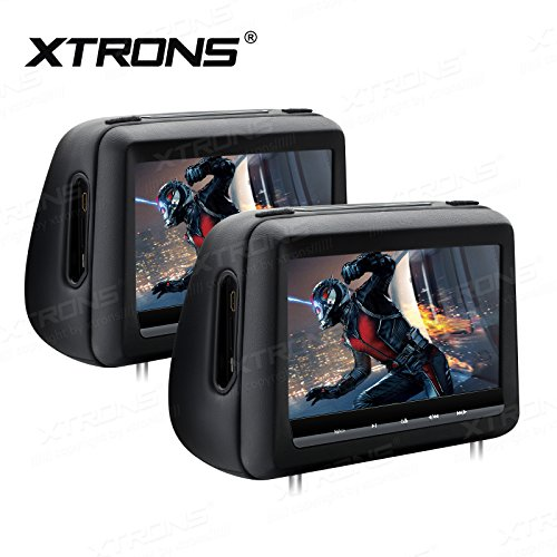 XTRONS 10.1 Inch HD Digital Screen Touch Panel Leather Cover Car Headrest DVD Player 1080P Video with HDMI Port