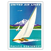 Pacific Northwest - United Air Lines - Sailboats and Snow Capped Glacier Mountains - Vintage Airline Travel Poster by Joseph Binder c.1960s - Fine Art Print - 44in x 60in
