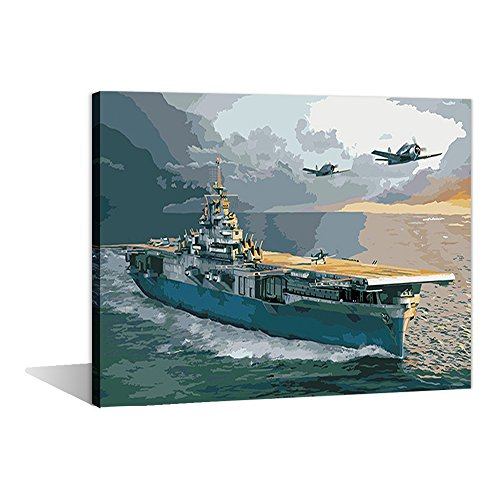 Paint by Numbers 16 x 20 inch Canvas Art Kits DIY Oil Painting for Kids/Students/Adults Beginner Wall Decorative Painting, Aircraft Carrier(Frameless)