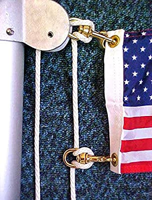 Comes with 2pc Swivel Snap Hooks ALAZCO 80 ft Extra Strong Diamond Braid Polypropylene Multi-Purpose Flag Line Rope Weather Resistant Shock Absorbent Heavy Duty Poly 1//4/'/' Thick
