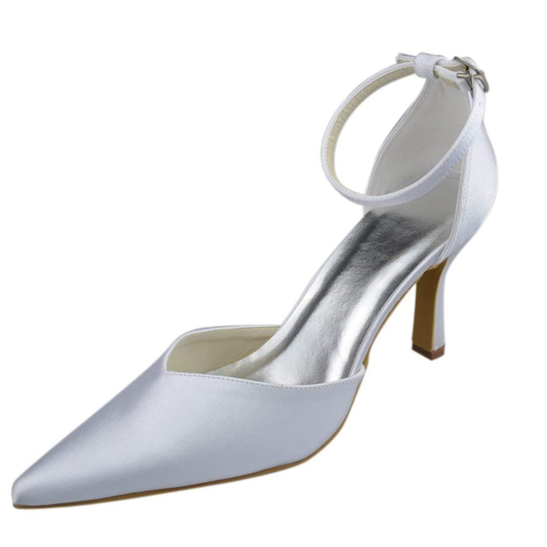 ZHRUI Y0037 Damen Stiletto High Heel Weiß Satin Abend Party Braut Hochzeit Riemchen Schuhe UK 6 (Farbe   - Größe   -)