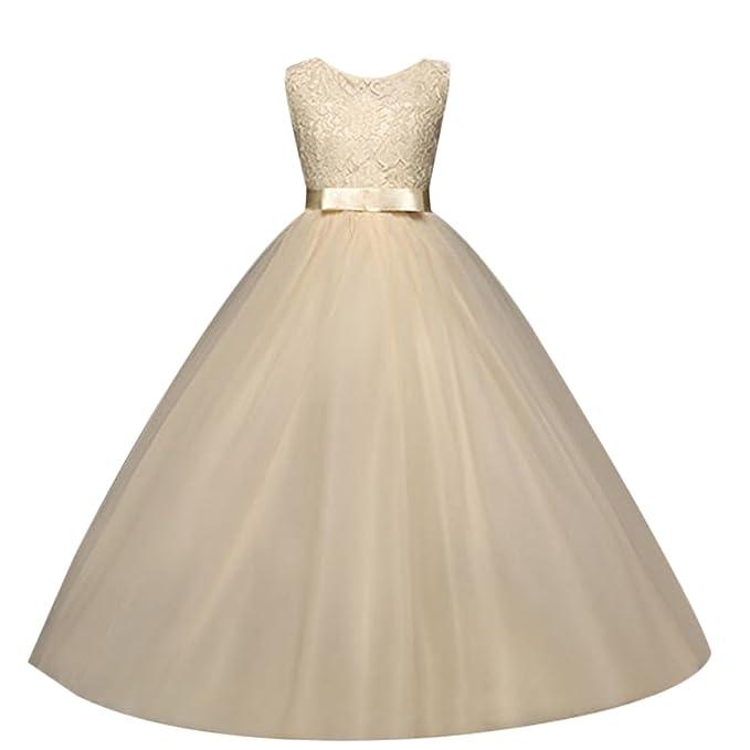4cf268e24 IBTOM CASTLE Vestido de niña de Flores para la Boda Niños Largo Gala Encaje  De Ceremonia
