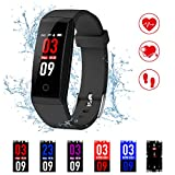 Cheap Fitness Tracker,Kirlor New Version Colorful Screen Smart Bracelet with Heart Rate Blood Pressure Monitor,Smart Watch Pedometer Activity Tracker Bluetooth for Android & IOS (Black)