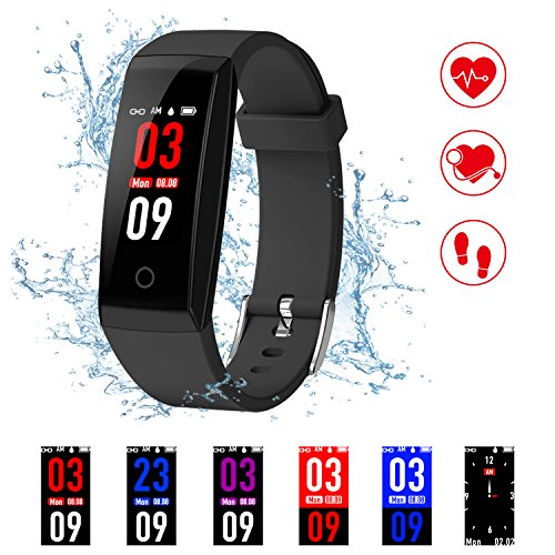 Kirlor Fitness Tracker, New Version Colorful Screen Smart Bracelet with Heart Rate Blood Pressure Monitor,Smart Watch Pedometer Activity Tracker Bluetooth for Android & iOS (Black)