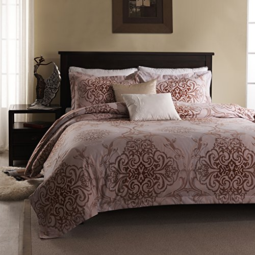 Simple&Opulence 3 Piece Reversible Bedding Gradient Palace Pattern Printed Microfiber (Queen) Polyester Duvet Cover Set Pink (Rh Duvet Cover)