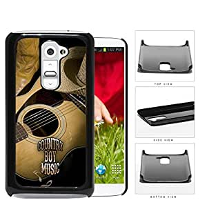 Country Boy Music with Acoustic Guitar and Cowboy Boots and Hat LG G2 Hard Snap on Plastic Cell Phone Case Cover