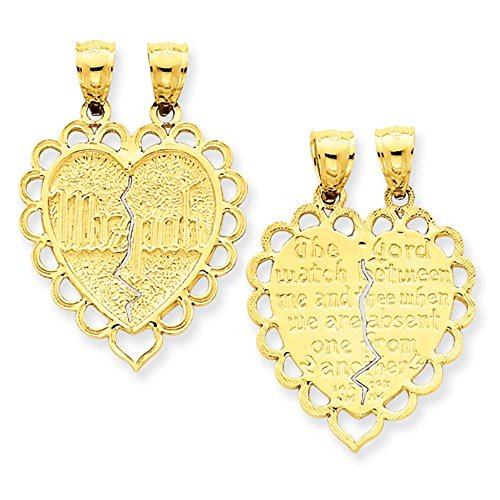 CKL International 14k Yellow Gold Mizpah Heart Two Piece Break Apart Pendant Charm ()