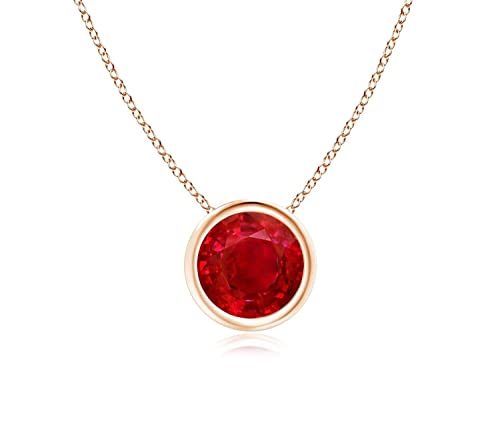 "14k Yellow Gold 7mm Round Created Ruby Bezel Gemstone Pendant Necklace, 18"""