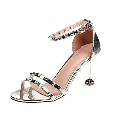 Covermason Zapatos Tacón alto mujer verano 2018, tacón alto de remache de remache redondo de moda: Amazon.es: Ropa y accesorios