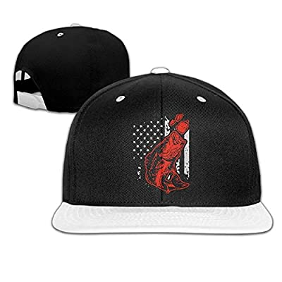 Bass Fishing Lure and American Flag Unisex Hip-Hop Flat Bill Snapback Caps Adjustable Baseball Cap for Women by Brecoy