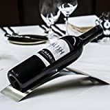 Sleek Modern Contemporary Brushed Stainless Steel, Single Bottle Serving Display Wine Rack