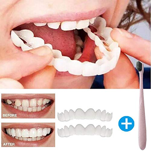 Clearance Sale! 2Pc Cosmetic Upper Teeth, Iuhan Temporary Smile Comfort Fit Cosmetic Teeth Denture Teeth Top Cosmetic Veneer with Toothbrush (White)