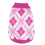 Cheap Patgoal Pet Dog Plaid Style Knit Sweater Pink Coat Apparel Jumper Jacket for Puppy
