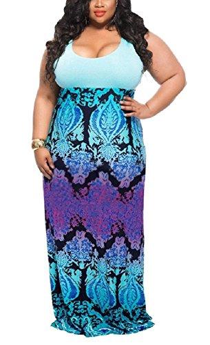 - Wearlove Women's Plus Size Scoop Neck Sleeveless Tank Top Chevron Zig Zag Stripe Maxi Dress (X-Large, blue1)