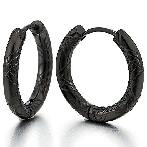 Stainless Grooved Circle Huggie Earrings