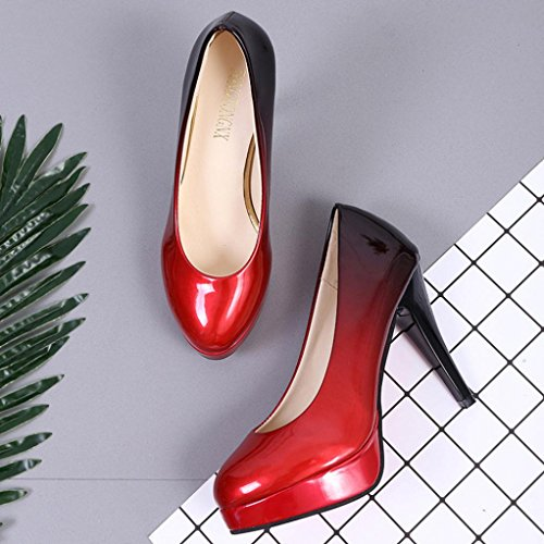 hunpta High-Heeled Shoes, Women Fashion Patent Leather Shoes Gradient Color Shallow High-Heeled Shoes D