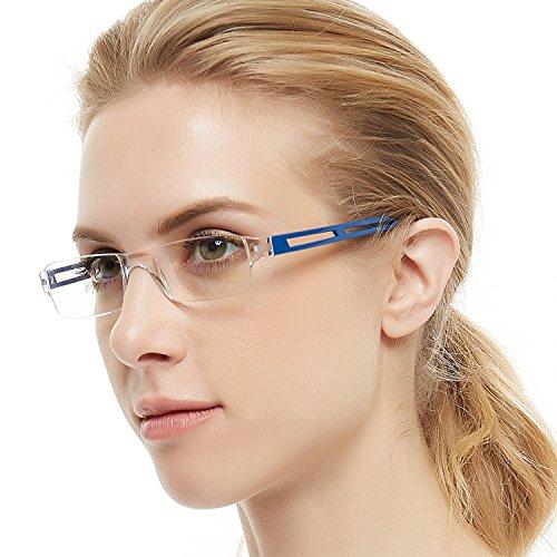 Reading Glasses Rimless Men Women Comfort Prescription Eyeglasses (+1,+1.5,+2.0,+2.5,+3.0,+3.5,+4.0) (Blue, 2.50)