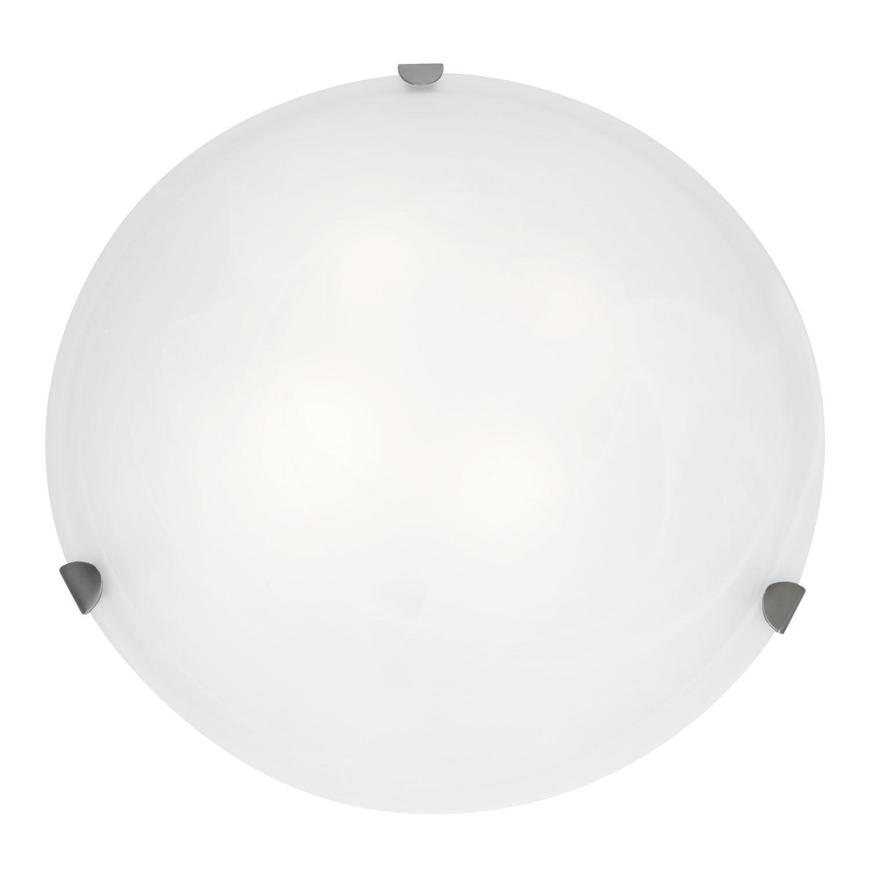 Mona - 20''dia Flush Mount - Brushed Steel Finish - White Glass Shade