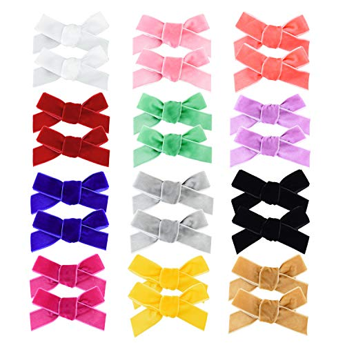 inSowni 24 Pack/12 Pairs Velvet Bow Alligator Hair Clips Barrettes Accessories for Baby Girls Toddlers Teens Kids