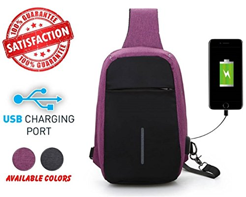 Price comparison product image Anti Theft Crossbody Sling Bag - Men Women Casual Daypack With USB Charging Port For Travel Running,  Hiking,  Sport,  Jungle,  Camping,  Cycling and Fishing - Shoulder Chest Messenger Backpack (PURPLE)