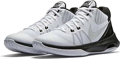 Nike Mens Air Versitile Basketball Shoe White/Metallic Silver/Black 10