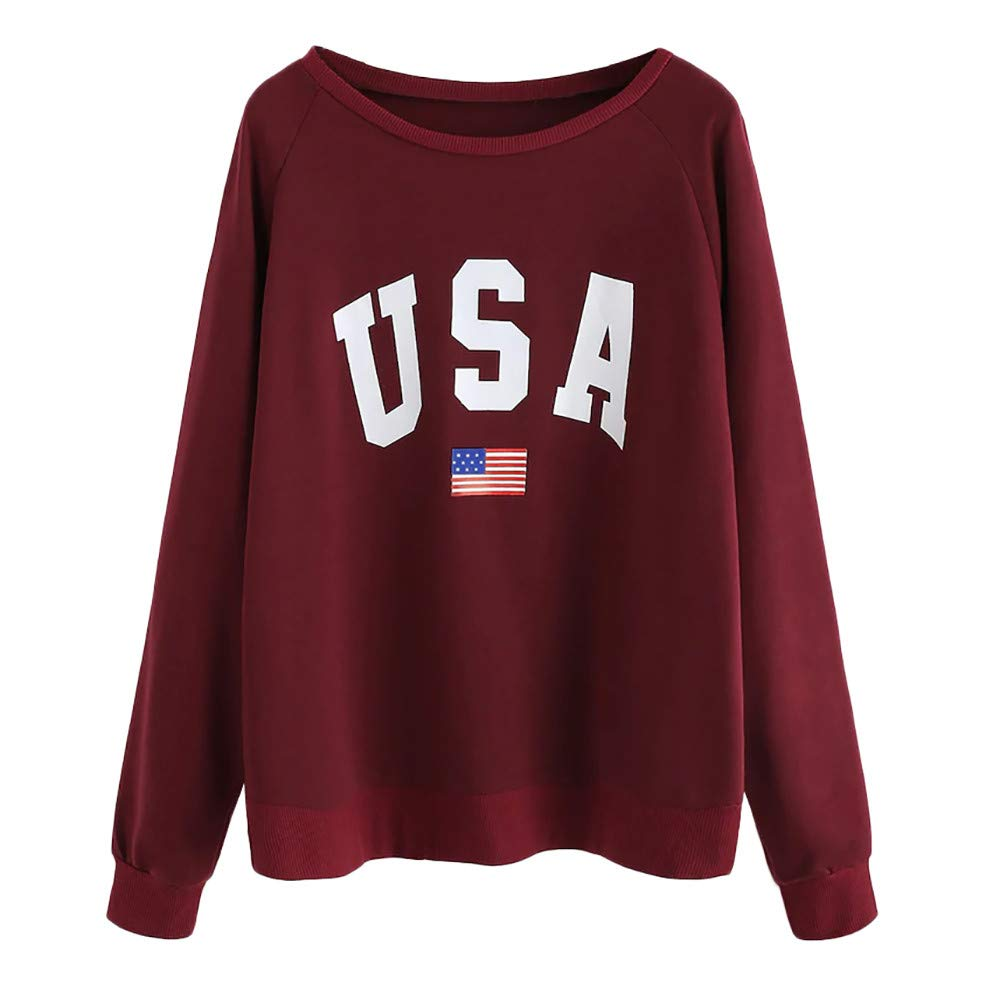 M/ädchen Langarm Lose Oversize Oberteile Langarmshirt Streetwear Patchwork Gestreift Sweatshirt Tops Hemd Bluse Jumper Amerikanische Flagge Pullover Damen Locker