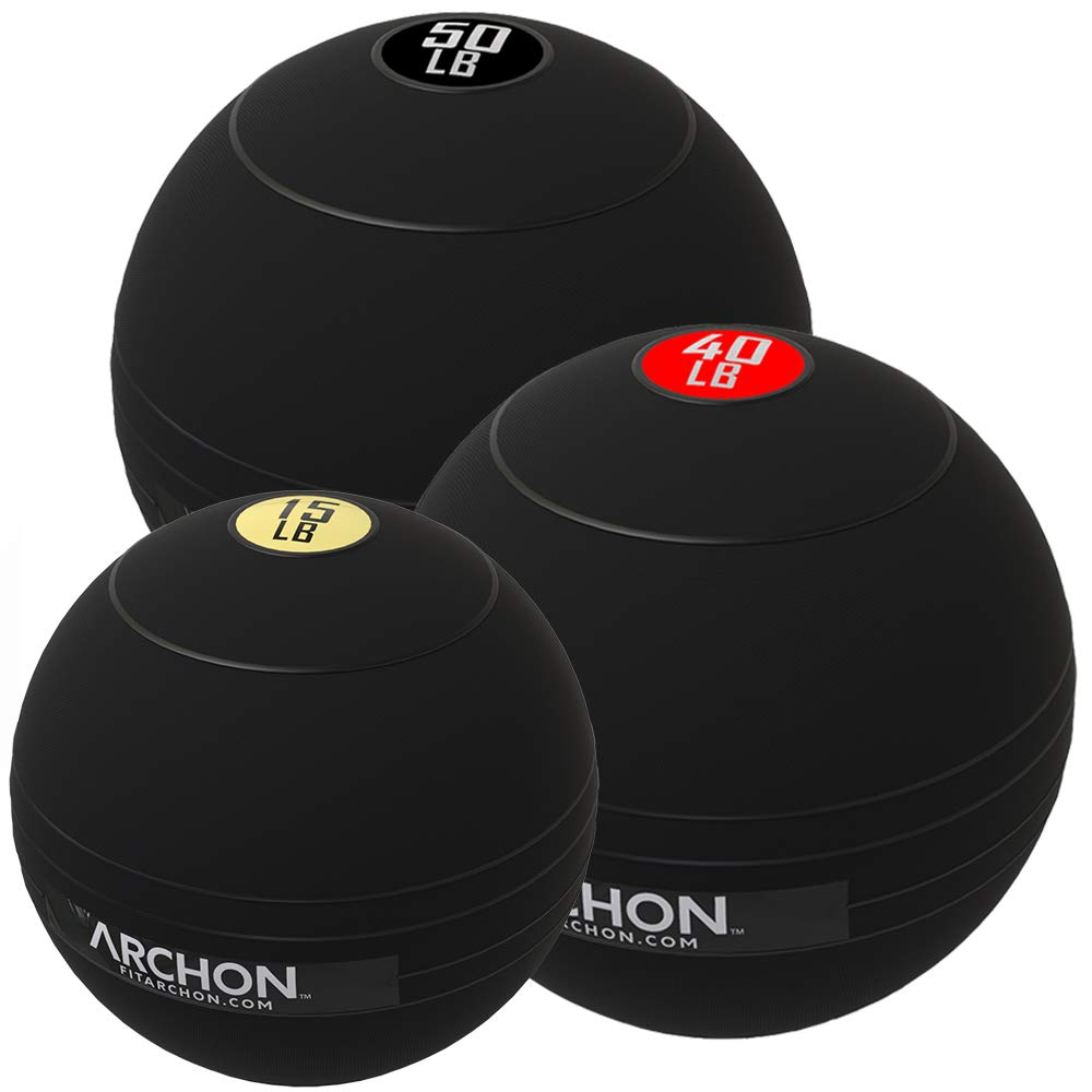 ARCHON Training 15 LB, 40 LB, and 50 LB Pound Slam Ball Set | Crossfit Workout | No Bounce Exercise Ball | Gym Equipment Accessories | Plyometric Exercise | Cardio | Jam Ball | Squats | Medicine Ball