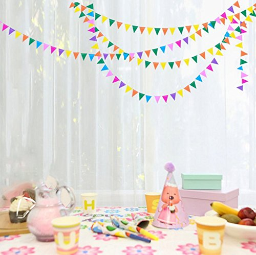 IFfree 13 ft Small Paper Multicolor Pennant Banner -(Flag Size: (Multi Color Pennant Banner)