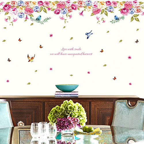 TPCXX Bird Language Potpourri Wall Sticker Living Room Background Wall Stickers Home Decor Living Room Wall Decals Flowers