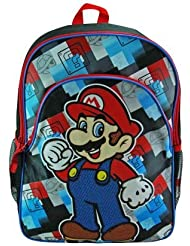Super Mario 16 Kids School Backpack Check Plaid