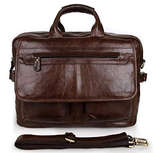 Full Grain Leather Briefcases Men, 15 Inch Laptop Bag Men's Business Travel Bags Double Zippers Open In Coffee Brown