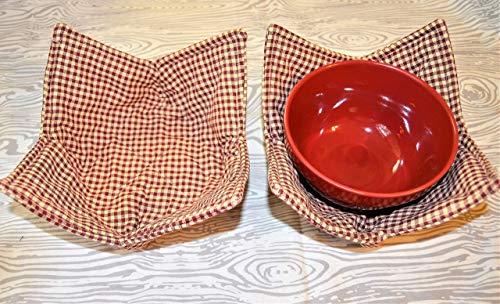 Set of 2 Rustic Red Gingham Check Bowl Cozy Homespun