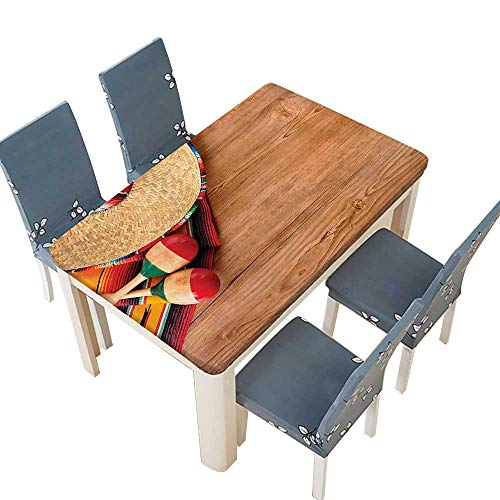 PINAFORE Table in Washable Polyeste Sro Straw Hat Marakas and Serape Blanket Rug Over Wooden Banquet Wedding Party Restaurant Tablecloth W69 x L108 INCH (Elastic Edge)
