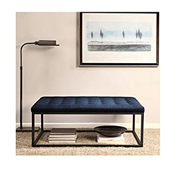 Renate Navy Upholstered Contemporary Linen Coffee Table Ottoman