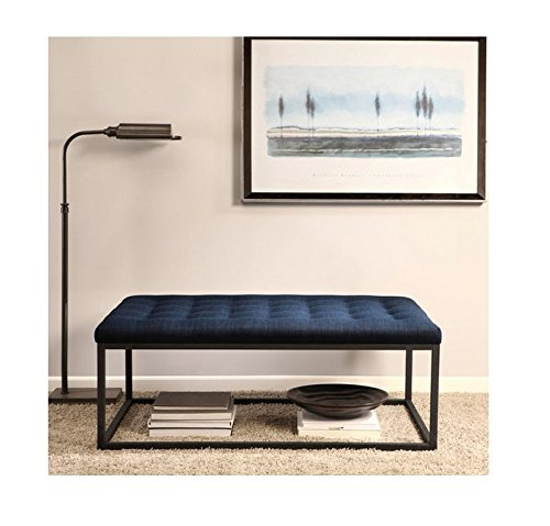 Upholstered Cocktail - Renate Navy Upholstered Contemporary Linen Coffee Table Ottoman