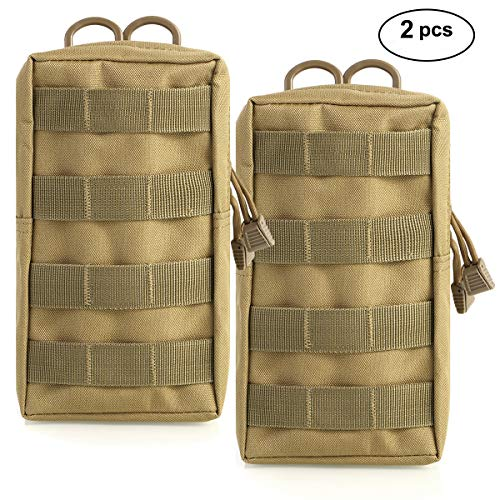 Owlike 2 Pack Tactical Molle Pouches - Compact Utility Water-Resistant EDC Pouch, Gadget Gear Hanging Chest Vest Waist Bag for Camping and Hiking Traveling