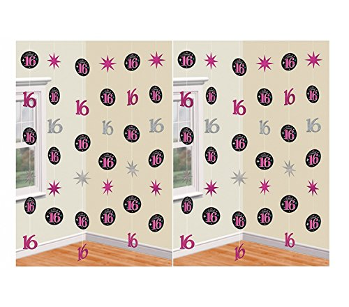 Amscan Sweet 16 Birthday Party String Ceiling Decorations (2 Pack)