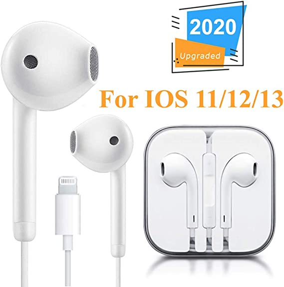 Lighting Connector Earbuds Earphone Wired Headphones Headset with Mic and Volume Control,Rapid to Use,Compatible with iPhone 11 Pro Max//Xs Max//XR//X//7//8 Plus Plug and Play Telescope Cases