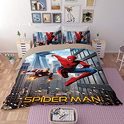 EVDAY 3D Spider Man Duvet Cover Set for Boys Ultra Soft Marvel Heroes Kids Bedding Including 1Duvet Cover,2Pillowcases King Queen Full Twin Size: Home & Kitchen
