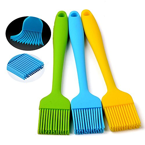 """Amazon #LightningDeal 98% claimed: Silcony Set of 3 Pure Silicone 8.4"""" Heat Resistant Basting Pastry Brushes - Perfect for BBQ, Grilling, Baking, Marinating Meat, Steaks, Spring Rolls & Much More- Assorted Color"""
