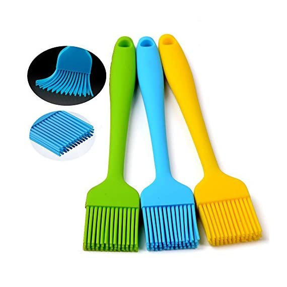 """Silcony 8. 4"""" basting brushes silicone heat resistant bpa free pastry brushes for bbq grill barbeque & kitchen baking set oil brushes soft bristles long handle (3 pack) (3, 8. 4 inches) 1 pure silicone & heat resistant - made of 100% food grade silicone material and bpa free. It can withstand heat up to 40-250 degrees. Soft & strong - comfortable handling with a nice and flexible grip. The metal rod under the silicone handle makes it easy to use for bbq & extreme heat. Also, the long handle will keep you safe from heat pressure. Saftey guaranteed - safe to use in oven, microwave, dishwasher & freezer. The matrial won't melt under any heat pressure and safe to use for bbq, baking, even cooking in a frying pan."""