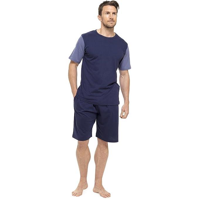 Tom Franks - Pijama para hombre, de algodón, de dos tonos, camiseta de manga corta y pantalones cortos, para estar por casa Azul Blue-Blue Medium: ...
