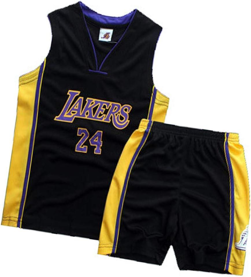 XMYM Kobe Lakers Basketball Jerseys for Kids 24# Summer Cool Breathable Basketball Uniform Quick Dry Sportwear V Neck Top+Shorts-Black-XS