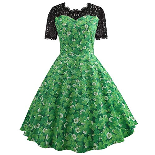 Dress for Women WANQUIY Shamrock Print Vintage Cocktail Party Evening Swing Dresses for Saint Patrick's Day