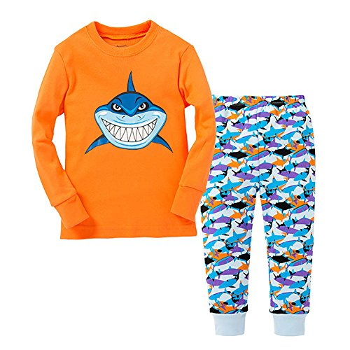 [VICVIK Baby and Little Girl Boy Shark Pajama Sets 2 Piece 100% Cotton Size 2-7T (6T, Orange)] (Cute Baby Boy Costumes Ideas)