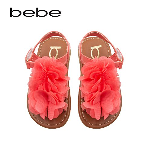 bebe-toddler-girls-sandals-with-chiffon-flower-9-10-coral