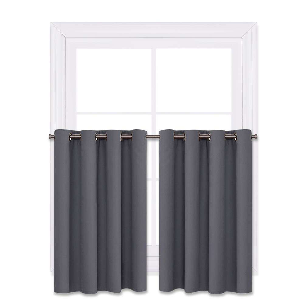NICETOWN Blackout Window Curtains for Kitchen - Thermal Insulated Blackout Grommet Top Drapes for Cafe Store (Grey, 2 Panels, 52W by 36L + 1.2 Inches Header)
